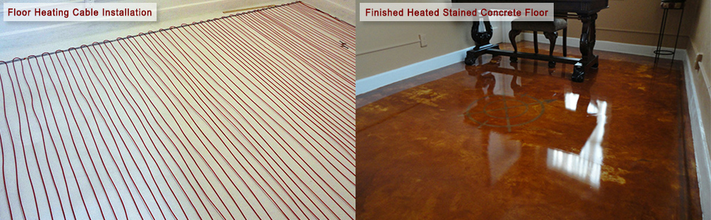 A radiant floor heating system installed in stained concrete floor.